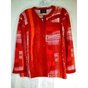 Bob Mackie Sz XS Sweater Button Up Red Orange NWT